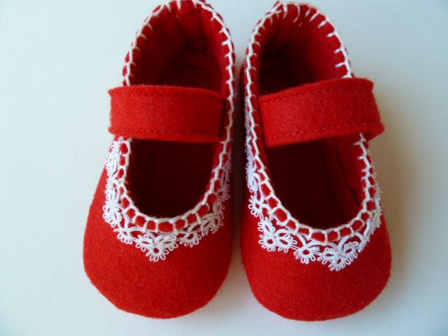 Baby Girl Shoes, Red  Felt Mary Janes - Custom and Handmade Baby Shoes - Valentine Gift Idea.