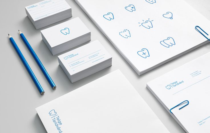 Blue and white Icons and brand identity for dental clinic — Blå, vita ikoner och grafisk profil för tandläkarkliniken Telge Tandvård
