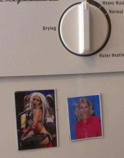 """Today I made some Christina Aguilera magnets for our dishwasher so we would know if our dishes were clean or Dirrty."" hahahahahaha DYING"