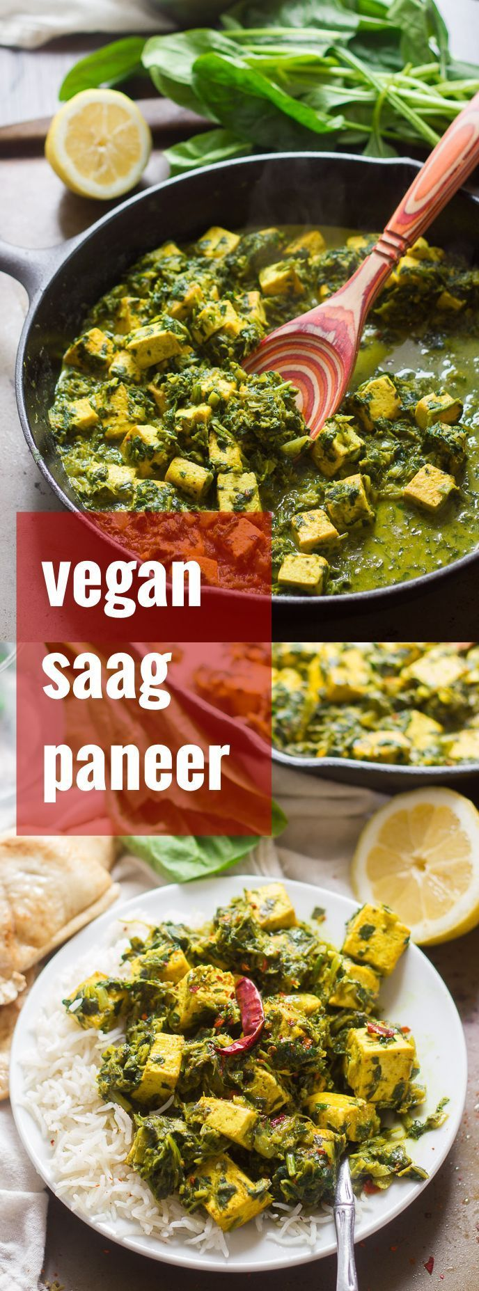 This vegan saag paneer has pan fried tofu cubes that stand in for cheese and are smothered in spicy curried spinach and coconut milk mixture.