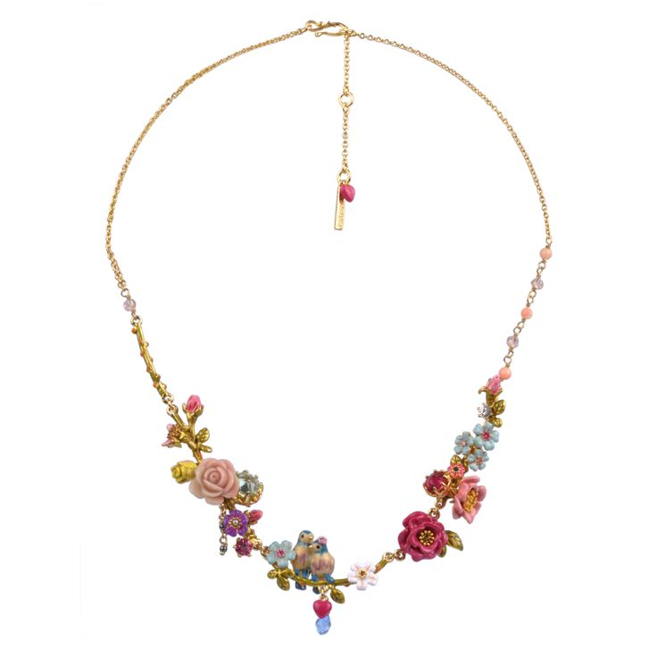 Collection Jardin d'Amour  http://shop.lesnereides.com/necklaces/2882-sophisticated-couple-of-tit-on-their-branch-with-flowers-beads-faceted-glass-necklace-3700377792382.html