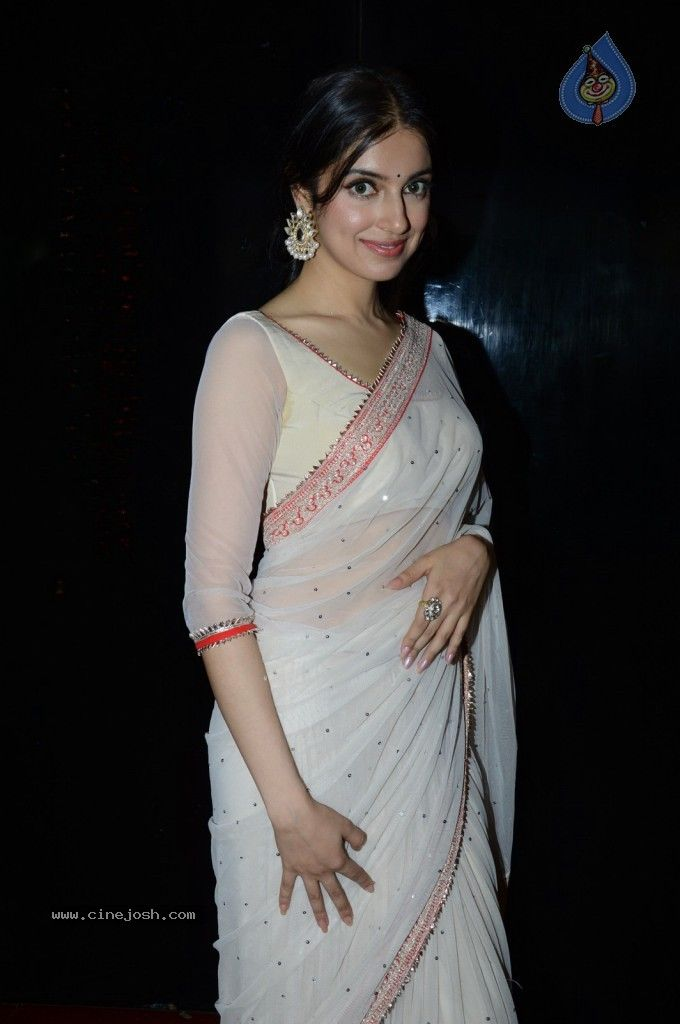 Divya Khosla Kumar in saree and 3/4 length blouse