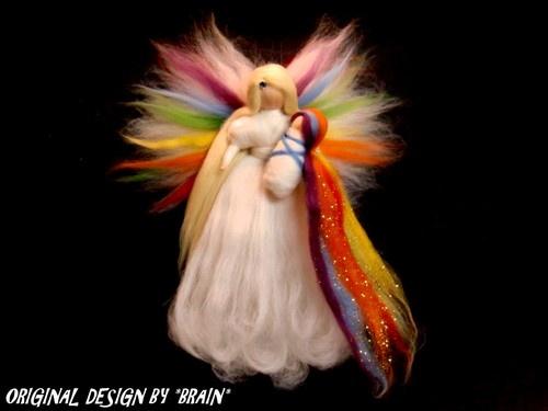 REGENBOGEN-ENGEL BABY Jahreszeitentisch Elfen FEEN MÄRCHENWOLLE WALDORF