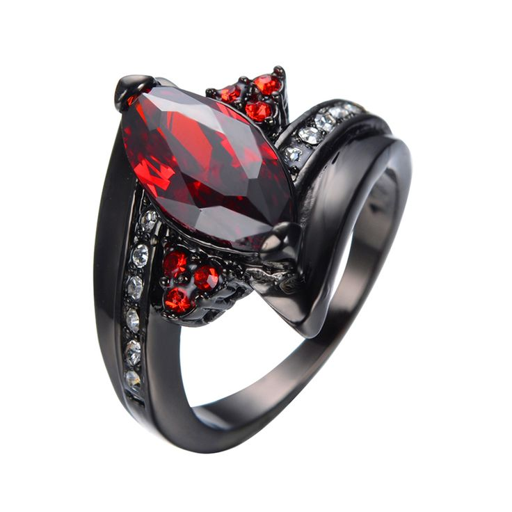 2016 Luxury Marquise Cut Red Ring Red Garnet Women Charming Promise Jewelry Black Gold Filled Wedding Rings Bijoux Femme RB0404