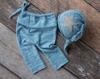 Muchacho recién nacido de 2 piezas, pantalón conjunto de bebé, azul bebé y gris recién pantalón y sombrero pantalón conjunto, apoyo de niño recién nacido