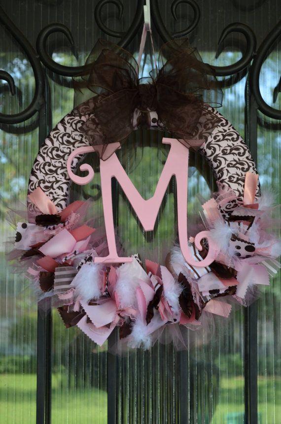 Pink and Brown Baby Wreath Nursery Hospital Door Baby by JoowaBean, $65.00