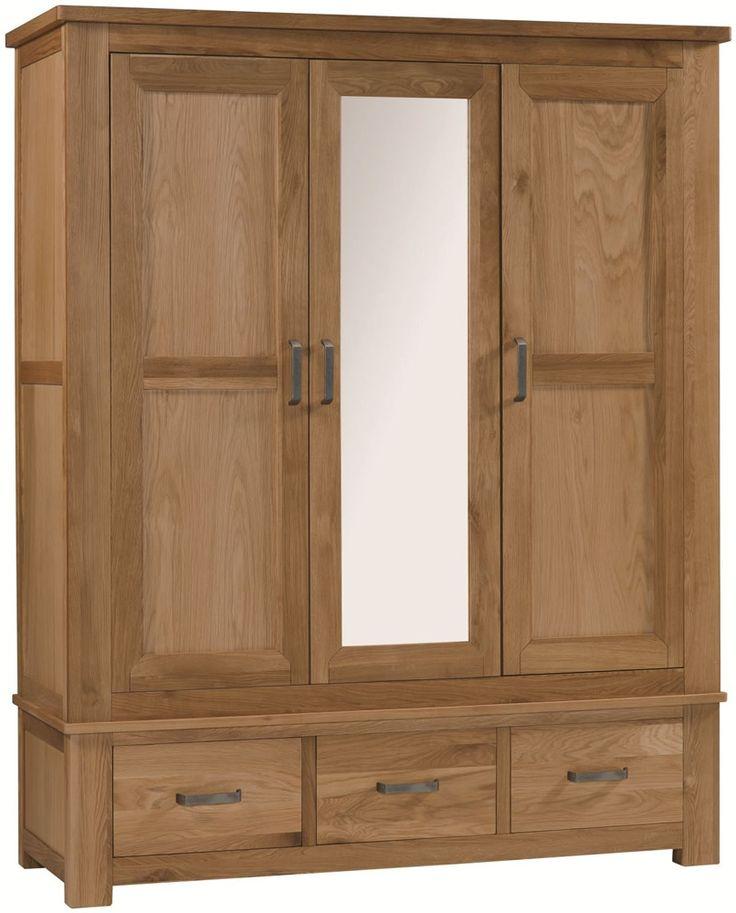 Oak Triple Wardrobe with mirror and drawers. http://www.furniturestyleonline.co.uk/Turin-Oak-3-Door-3-Drawer-Wardrobe.html