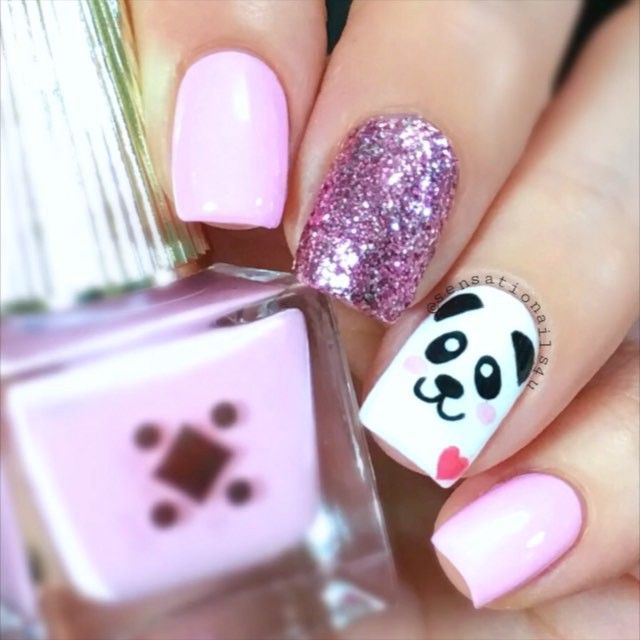 Here is a video of my cute little panda nails Polishes I used @deco.miami Don't Call me Baby Girl @opi_products Alpine Snow @wetnwildbeauty Sparkled/Etincelante @winstonia_store Fine line brush @glistenandglow1 Hk Girl top ✨coat SongBe Right There by Diplo ft Sleepy Tom