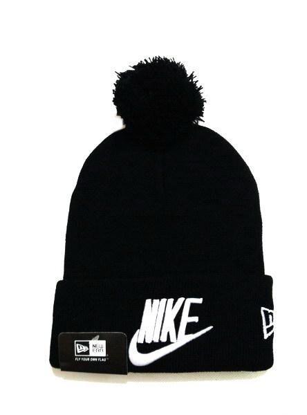 Nike True Nike Logo x New Era Sports Novelty Fashion Cuff Knit Pom Pom Beanie Cap In Black White