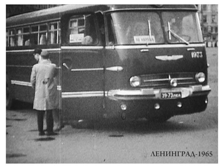 Ikarus 55 Lux в Ленинграде в 1965 году. За лобовым стеклом табличка По городу — возможно, это экскурсионный автобус.