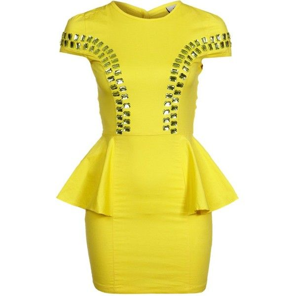 Fairground CHA CHING Cocktail dress / Party dress ($150) ❤ liked on Polyvore featuring dresses, vestidos, yellow, short dresses, sukienki, pattern dress, long-sleeve mini dress, short yellow cocktail dress and yellow sleeve dress
