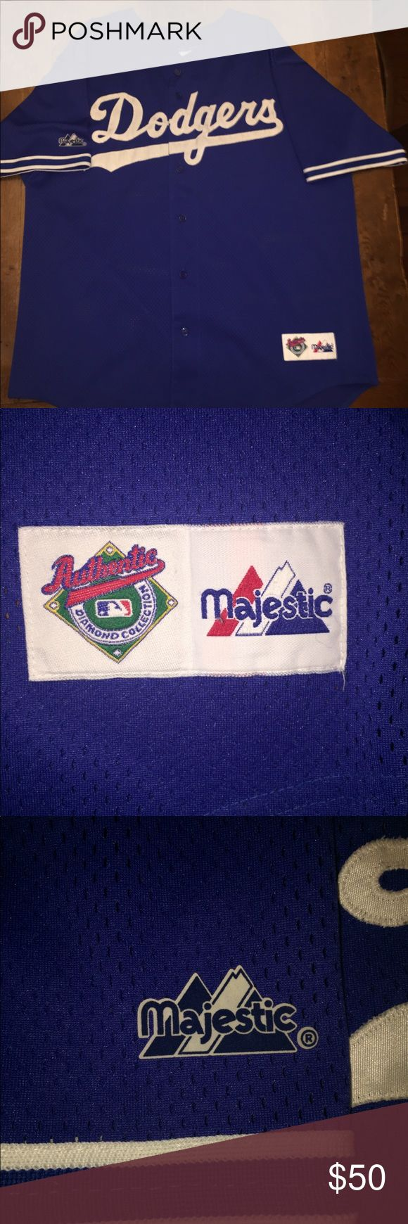 Vintage Major League Baseball Dodgers jersey In decent condition small holes on sleeve Majestic Shirts Tees - Short Sleeve