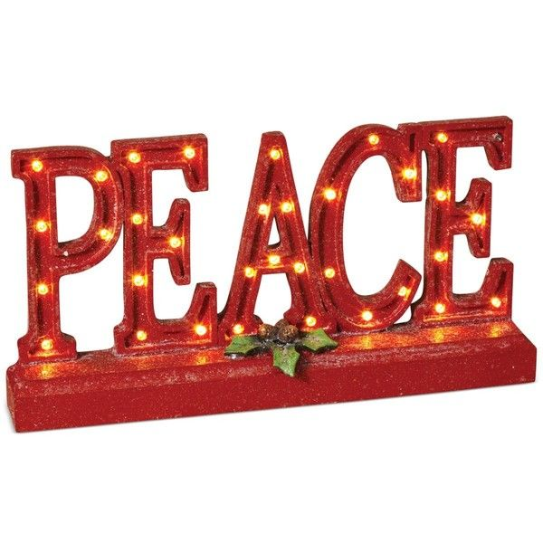 Gerson Peace Led Word Sign ($52) ❤ liked on Polyvore featuring home, home decor, wall art, green, text signs, peace sign, text peace sign, quote wall art and green wall art