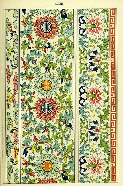 EXAMPLES OF CHINESE ORNAMENT (1867) A selection from the 100 plates featured in the book Examples of Chinese ornament selected from objects in the South Kensington museum and other collections (1867) by Owen Jones. From the Preface: