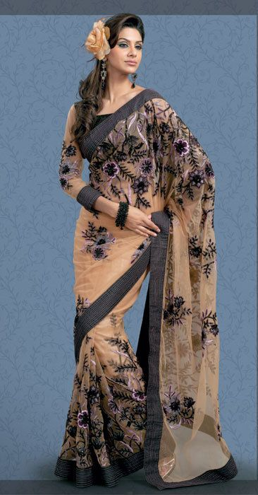Peach Coloured Net Designer Indian Sari by SassySaris on Etsy, $160.00... Free Shipping from now till Feb 25. Hurry!