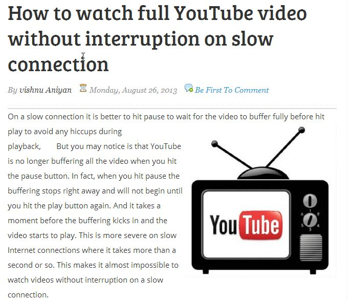 A workaround to watch full YouTube video without interruption on a slow connection, by disabling  Dash Playback on YouTube Buffering.