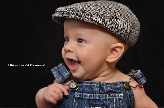Herringbone baby hat winter boy flat cap boy winter hat
