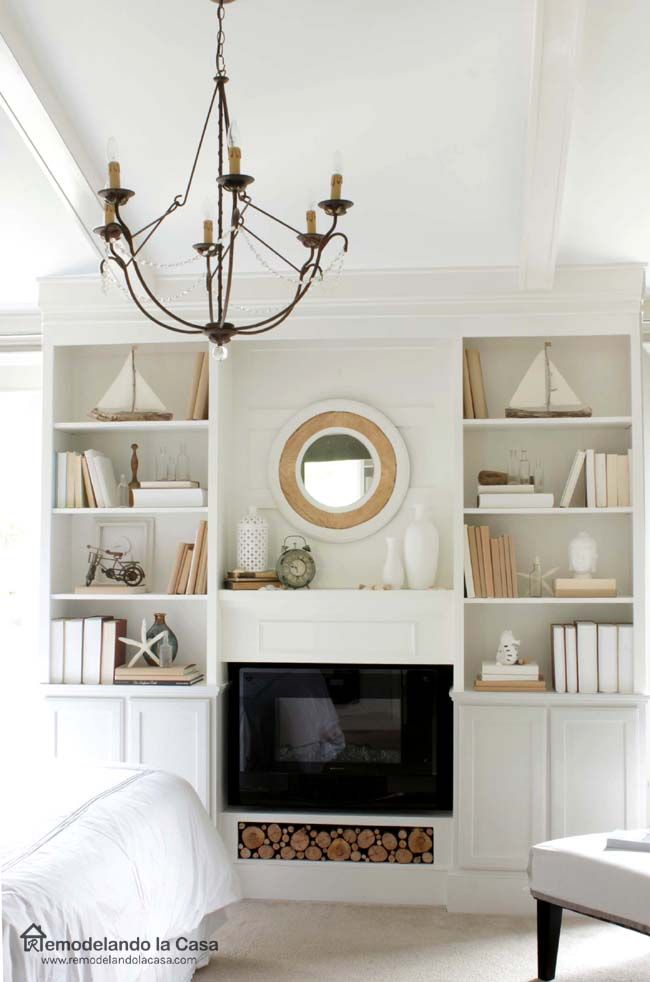 Diy bookcases for bedroom final reveal beautiful - Bedroom electric fireplace ideas ...