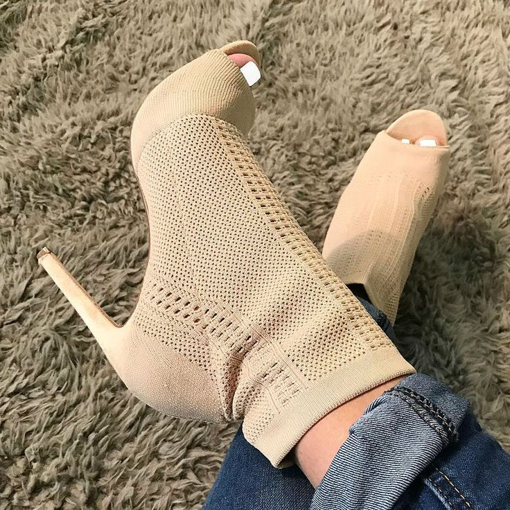 Open Toe Knit Stiletto Booties