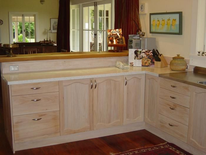 Whitewash Kitchen With Macrocarpa Bench Ideas For Our