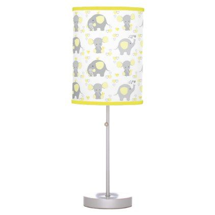Elephant Yellow Safari Animal Nursery Baby Neutral Desk Lamp - baby gifts child new born gift idea diy cyo special unique design