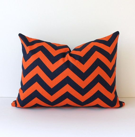 Navy Blue And Orange Throw Pillows : Zig Zag Lumbar Decorative Designer Pillow 12 x 16