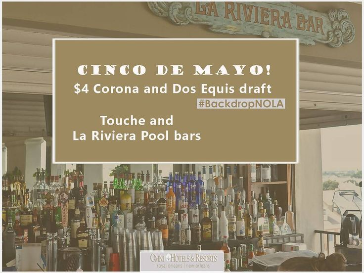 Happy Cinco de Mayo! Celebrate with $4 Corona and Dos Equis draft in our Touche and La Riviera Pool bars. #BackdropNOLA  #cincodemayo #omni #attheomni #travel #hotel #neworleans #nola #igersnola #igersneworleans #ignola #igneworleans #fun #frenchquarter #omniroyalorleans #vacay #vacaymode #beautiful #showmeyournola by omniroyalorleans
