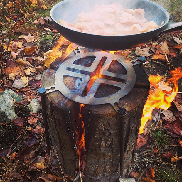 Swedish Log Stovetop.  There's an old Scandinavian tradition of splitting a log 4-ways, standing it vertical, and lighting the center on fire, with the splits acting as vents to keep it burning. The Swedish Log Stovetop is a laser-cut stainless steel burner designed to turn that log into a cookstove. $52