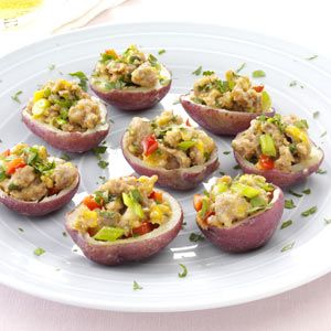 Sausage-Stuffed Red Potatoes ~ These contest-winning potato appetizers are delicious and low-calorie!