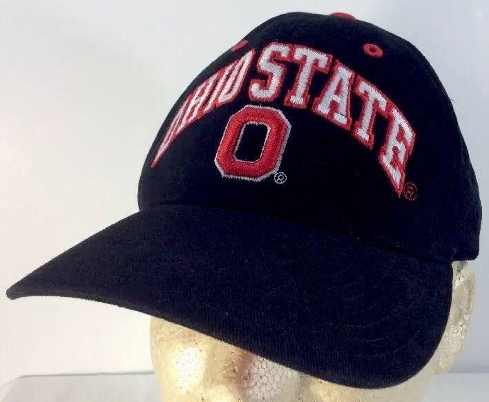Love this Ohio state baseball cap. Ohio State Baseball Cap Hat Black Adjustable Strap Steve & Barry's 100% Cotton #SteveBarrys #BaseballCap