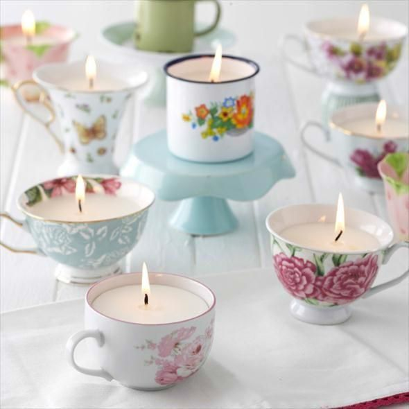 You can recycle vintage tea cups that are missing their matching saucers into beautiful candle holders. These would be a perfect accessory for your high tea table setting.