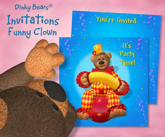 Dinky Bears - Clown with Bandoneon on Hop Ball Invitations - Digital Download