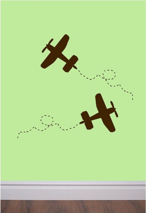 Set of 6 vinyl wall decals - airplane with trail - perfect for bedroom, nursery, play room