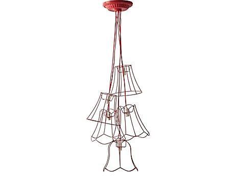 La soffitta di Dalani: Lampadario a sospensione a 5 lumi in filo di metallo GRANNY rosso - H 130 cm
