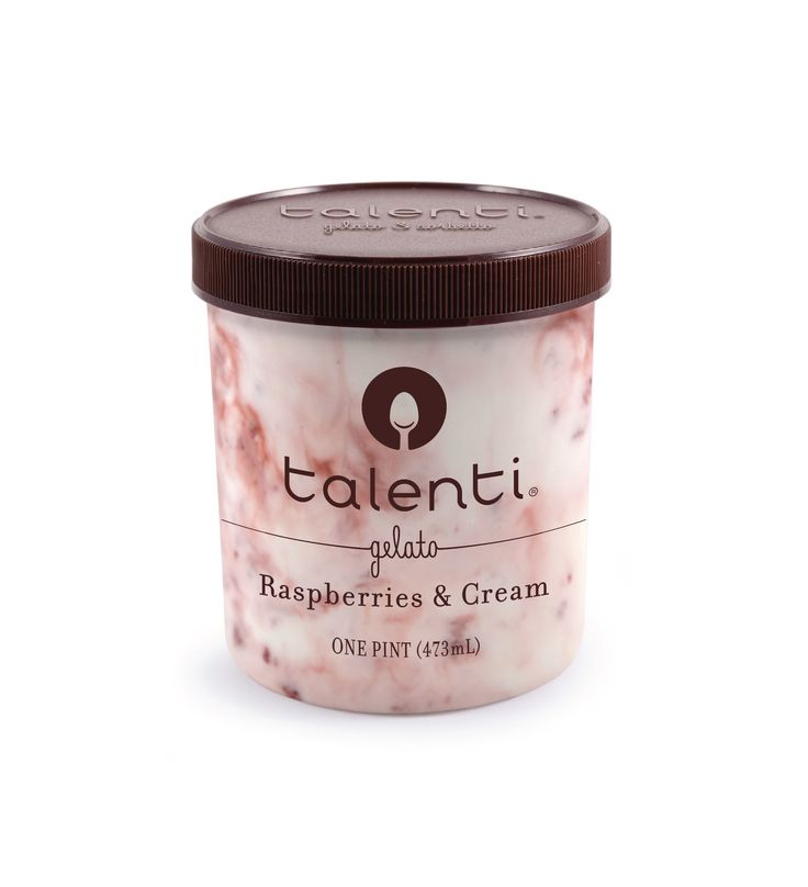 Talenti Raspberries & Cream gelato. We did it! We made tart and creamy happen at the same time by blending our sweet cream gelato with fresh raspberries, vanilla, balsamic vinaigrette and a delicious raspberry swirl.