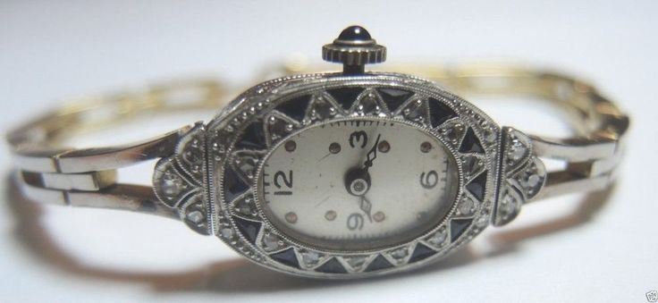 "Antique Swiss Rose Diamond Ladies Wrist Watch Platinum 18KY 7"" 27.5 Grams Estate #Swiss"
