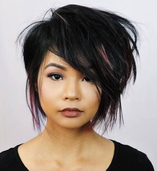 black chopped bob - straight hair needs volume in chopped styles; backcombing and asymetry here