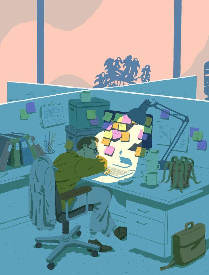 Illustration for Tiden Magazine on Behance / side lines, colour, darkness