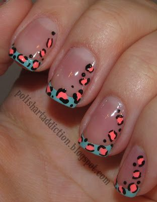 Picture this : the cheetah design with aqua in the center instead of coral and instead of blue tips make it a French tip (with white)