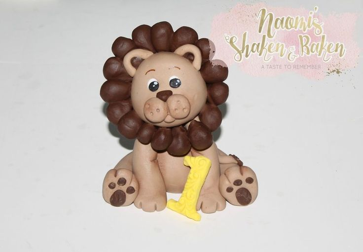 Edible Set 8-9cm Girl or Boy Cute Lion Age Jungle Animals Fondant Cake Topper  #BirthdayBabyShower