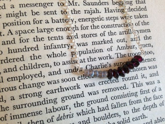 Sterling Silver Necklace  Labradorite and Garnet Color Blocked Bead Necklace by sarahrodger on Etsy.com