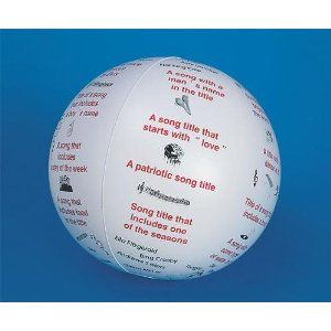 You could totally make this yourself using a Sharpie and a beach ball.  Fun icebreaker/reward activity - toss and talk ball.  I'd use this for middle school.  Kids have to perform/name a song depending on what their thumb is touching when they catch it.  S Worldwide Toss 'N Talk-About® Ball, Music