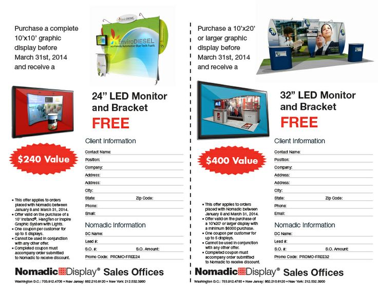 FREE LED Monitor Promotion from Nomadic Display Sales Offices