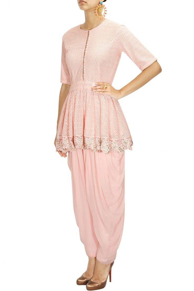 SAUMYA & BHAVINI MODI Pink chevron embroidered peplum top with dhoti pants