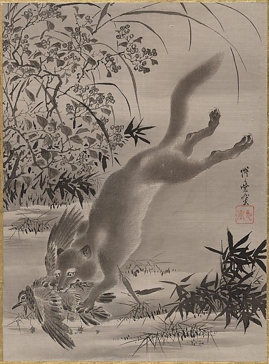 Fox Catching Bird by Kyosai