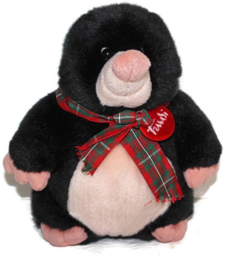 "Trudi Mole Plush Italy 8.5"" Stuffed Animal Soft Toy Black Plaid bow #Trudi"