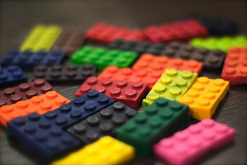 melted crayons poured into lego moulds