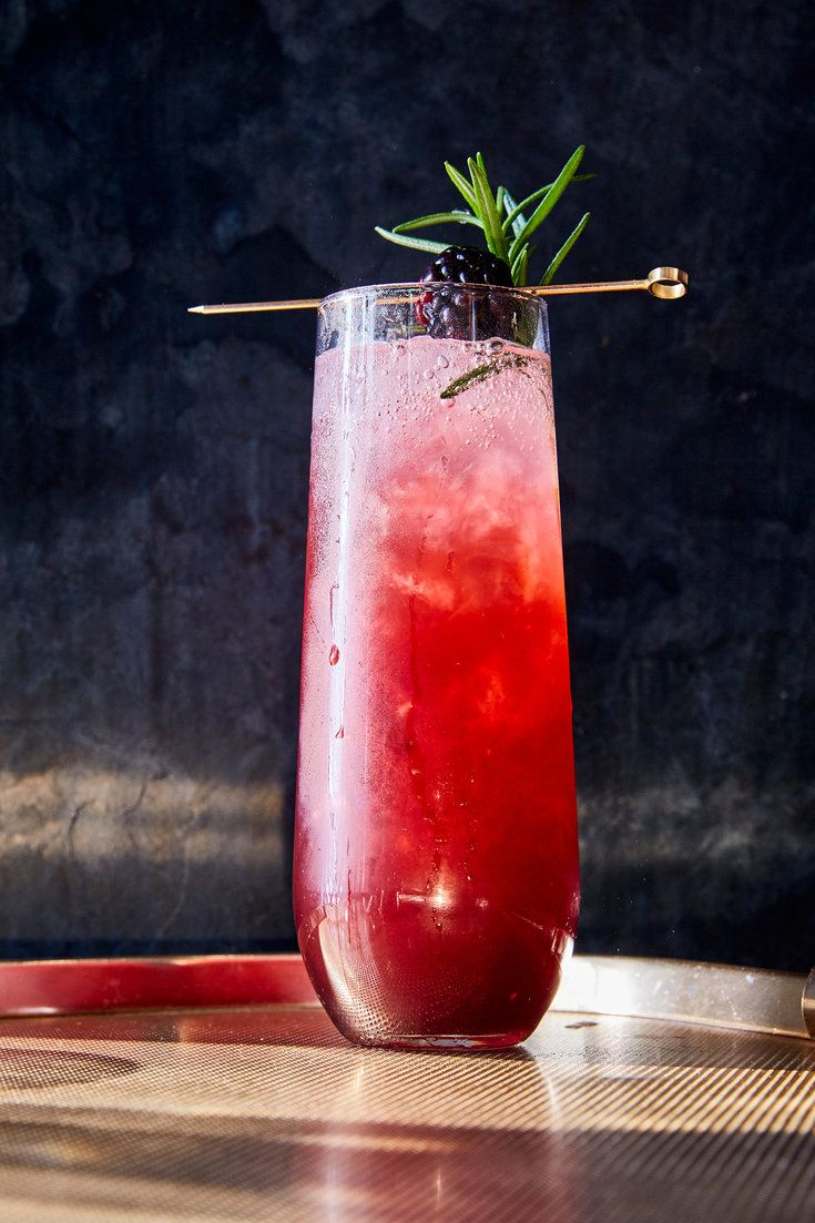 Blackberries lend a pleasing sweet and tart flavor, and pretty color, to this nonalcoholic highball — and orgeat (a rich, almondy syrup) gives it some depth. Topped off with sparkling coconut water, it's bright and refreshing. (Photo: Gentl and Hyers for The New York Times)