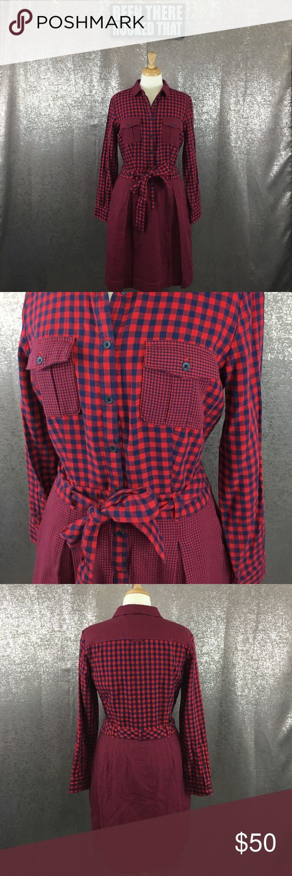 Brooks brother red fleece plaid shirt dress In excellent preowned condition Brooks Brothers Dresses