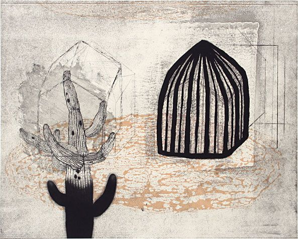 Akiko Taniguchi. Cage 2, 2007. Etching, mezzotint, drypoint, engraving, chine-colle. 12 x 15 inches.